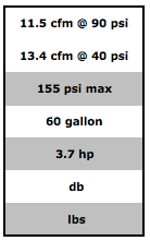 Table showing technical specifications of the Powermate PLA3706056 stationary air compressor