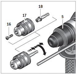 Excert from the Bosch GBH 2-26 operating manual showing the keyed 'adaptor' chuck